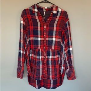 NWOT Free People Plaid Button Down Top